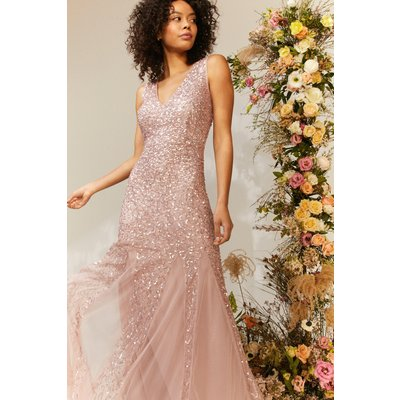 Coast Sequin Split Skirt Maxi Dress -, Pink