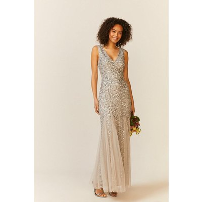 Coast Sequin Split Skirt Maxi Dress -, Silver