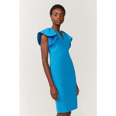 Coast Premium Structured Ruffle Sleeve Shift Dress -, Blue