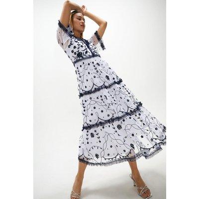 Coast Long Sleeve Tier Detail Embellished Dress -, Blue