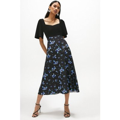 Coast Solid Bodice Printed Skirt Midi Dress -, Floral