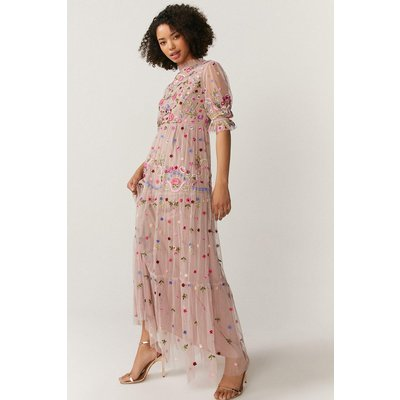 Coast All Over Embroidered Maxi Dress -, Pink