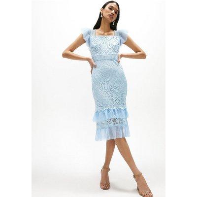 Coast Lace Cap Sleeve Midi Dress -, Pale Blue