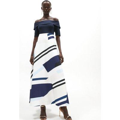 Coast Bardot Dress With Maxi Skirt -, Blue