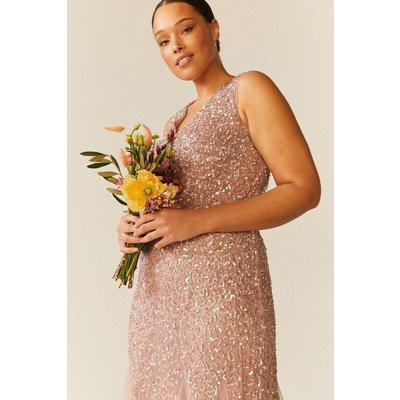 Coast Curve Sequin Split Skirt Maxi Dress -, Pink