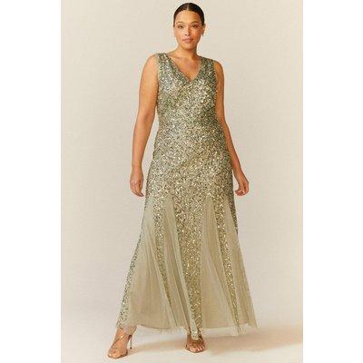 Coast Curve Sequin Split Skirt Maxi Dress -, Sage
