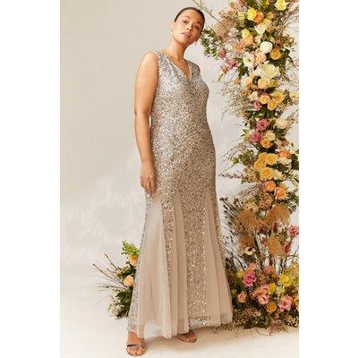 Coast Curve Sequin Split Skirt Maxi Dress -, Silver
