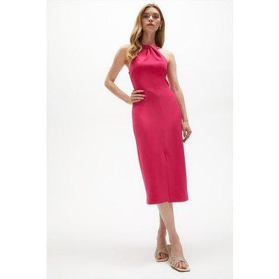 Coast Knot Bodice Halter Shift Dress - Bright, Pink