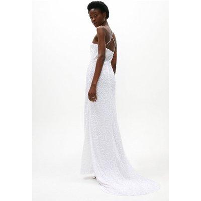 Coast All Over Sequin Cross Back Bridal Maxi Dress -, Ivory