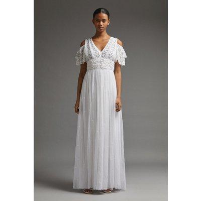 Coast Cold Shoulder Embellished Bridal Dress -, Ivory