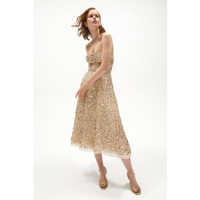 Coast Sequin All Over Bandeau Dress, Multi