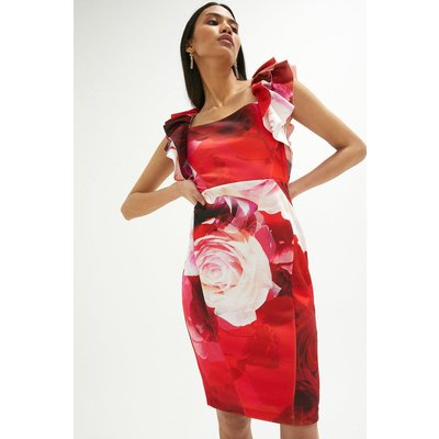 Coast Frill Sleeve Pencil Skirt Scuba Dress -, Pink