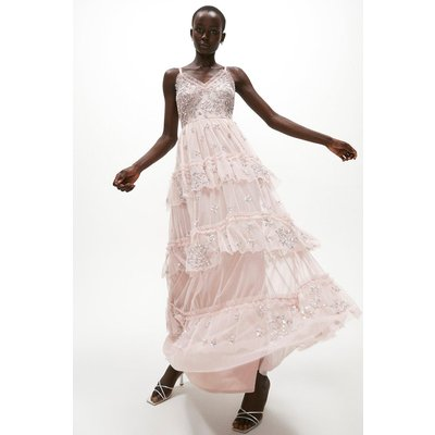 Coast Tiered Sequin Embellished Maxi Dress -, Pink