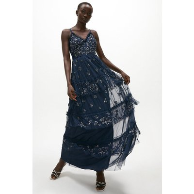 Coast Tiered Sequin Embellished Maxi Dress -, Navy