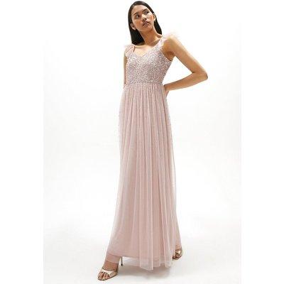 Coast Sequin Bodice Frill Sleeve Maxi Dress -, Pink