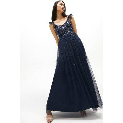 Coast Sequin Bodice Frill Sleeve Maxi Dress -, Navy