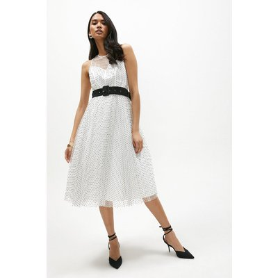 Coast Belted Polkadot Full Skirted Mesh Dress -, Mono