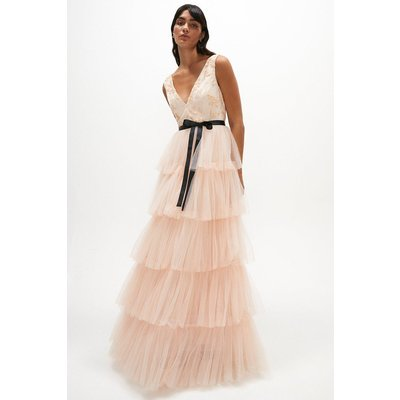 Coast Embellished Tiered Tulle Dress -, Pink