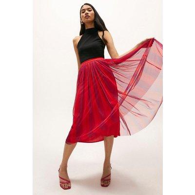 Coast Multi Coloured Mesh Midi Skirt - Bright, Pink