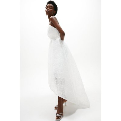 Coast Textured Tulle Sequin High Low Dress -, White