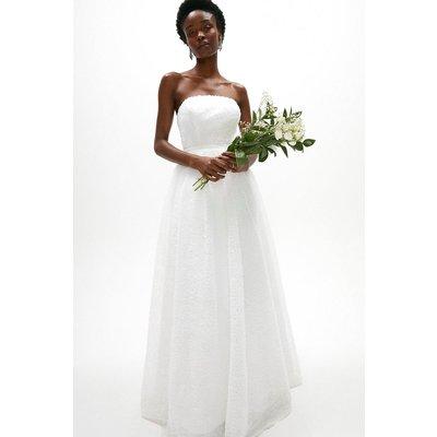 Coast Textured Tulle Bandeau Maxi Dress -, White