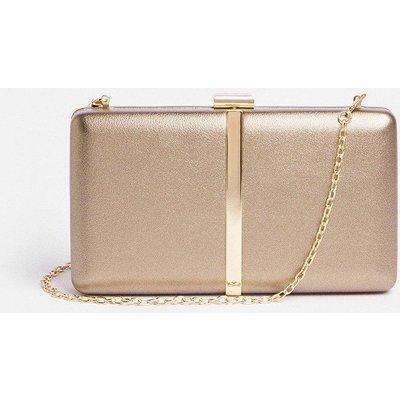Coast Metallic Clutch Bag With Chain Strap -, Bronze