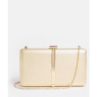 Coast Metallic Clutch Bag With Chain Strap -, Gold