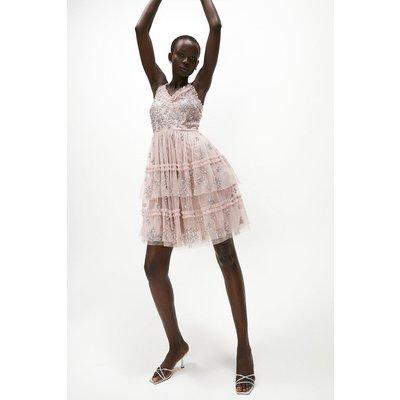 Coast Tiered Sequin Embellished Short Dress -, Pink