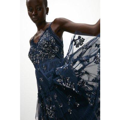 Coast Tiered Sequin Embellished Short Dress -, Navy
