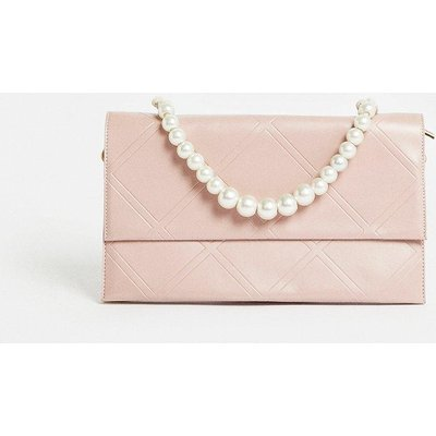 Coast Quilted Clutch Bag With Pearl Handle -, Pink