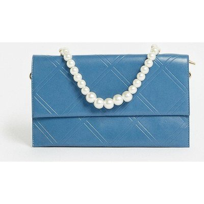 Coast Quilted Clutch Bag With Pearl Handle -, Navy