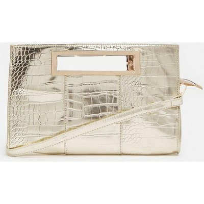 Coast Rectangle Croc Clutch With Cut Out Handle -, Champagne