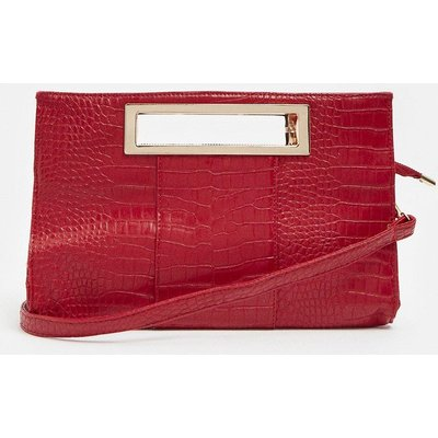 Coast Rectangle Croc Clutch With Cut Out Handle -, Red