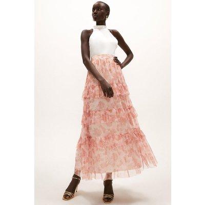 Coast Printed Mesh Tiered Skirt -, Pink