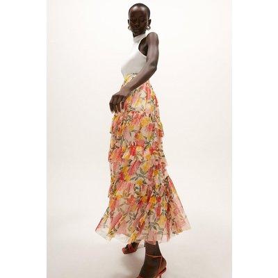 Coast Printed Mesh Tiered Skirt, Multi