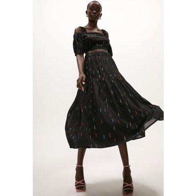 Coast Rainbow Cotton Maxi Skirt -, Black