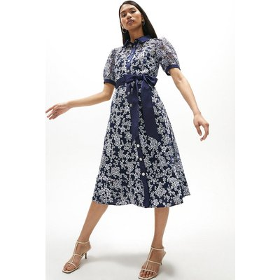 Coast Embroidered Puff Sleeve Midi Shirt Dress -, Navy