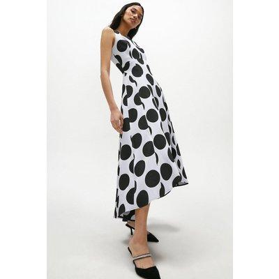 Coast Spot Jacquard Full Skirted High Low Dress -, Mono