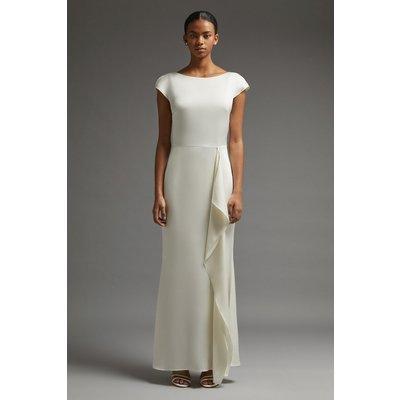 Coast Premium Ruffle Skirt Cowl Back Dress -, Ivory