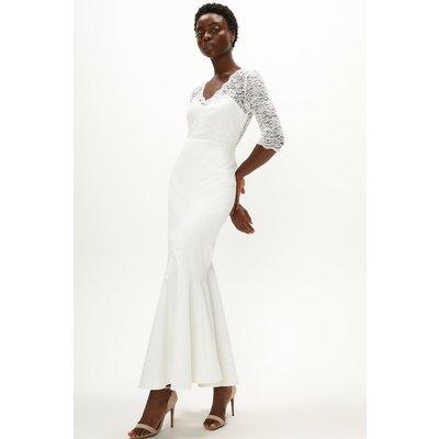 Coast Premium Lace Top Fishtail Skirt Dress -, Ivory