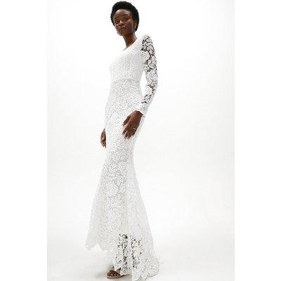Coast Lace Long Sleeve Dress With Trail -, Ivory