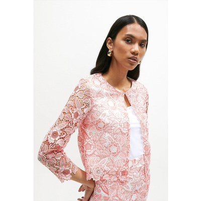 Coast Blossom Crochet Lace Bolero -, Pink