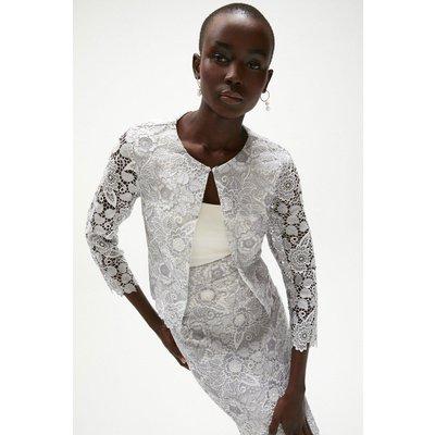 Coast Blossom Crochet Lace Bolero -, Silver