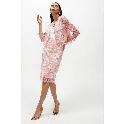 Coast Blossom Crochet Lace Pencil Skirt -, Pink