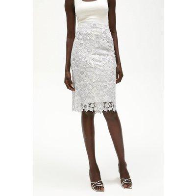 Coast Blossom Crochet Lace Pencil Skirt -, Silver