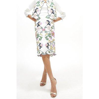 Coast Mirror Embroidered Pencil Skirt -, White