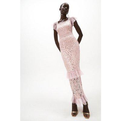 Coast Lace Cap Sleeve Maxi Dress -, Pink