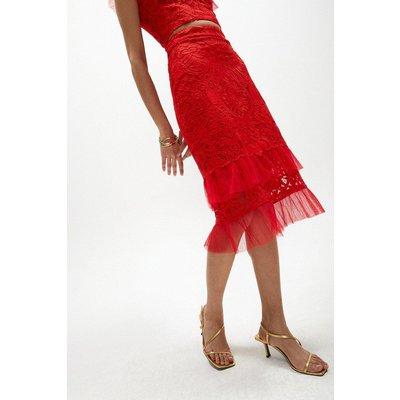 Coast Lace Hem Detail Pencil Skirt -, Fire Red