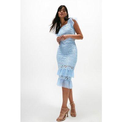 Coast Lace Hem Detail Pencil Skirt -, Pale Blue