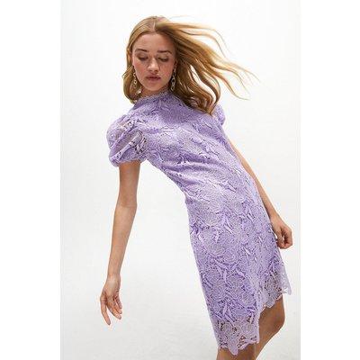Coast Puff Sleeve Peony Lace Shift Dress -, Lilac